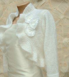 Mariage boléro Shrug main tricot tricot Ruffle Bridal