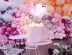 44 Ideas baby shower ideas for girls pink valentines Balloon Wall, Balloon Garland, Balloon Arch, Balloon Decorations, Birthday Decorations, Wedding Decorations, 21st Birthday, Birthday Parties, Neon Led