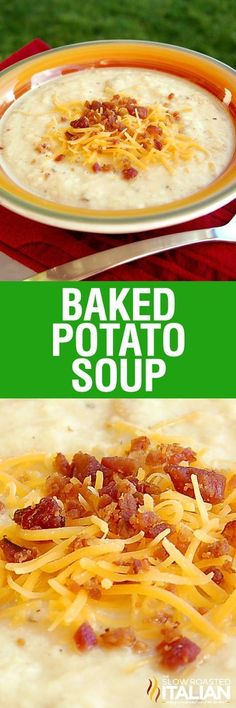 This baked potato soup from The Slow Roasted Italian is rich and creamy and has all your favorite potato fixin's cooked right inside this luscious soup. It comes fully loaded with cheese, bacon, and sour cream! This dinner is utterly life changing. This simple recipe is incredibly popular and you are going to love it! Chili Recipes, Potato Recipes, Crockpot Recipes, Soup Recipes, Slow Cooker Recipes, Dinner Recipes, Cooking Recipes, Hamburger Recipes, Barbecue Recipes