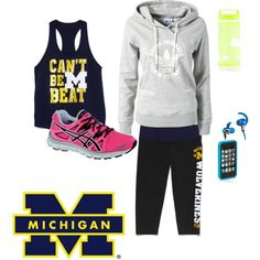 """""""uofm workout"""" on polyvore"""