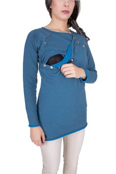 Viva la Mama   The blue long-sleeved nursing & maternity hoodie NOVA has a comfortable and long cut but is also playful with its little buttons. NOVA makes discrete breastfeeding everywhere possible.