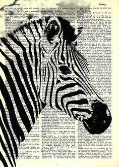 "Zebra  - Wild Animal Series- 8x11""  Print on Vintage repurposed paper - Dictionary Art Print"