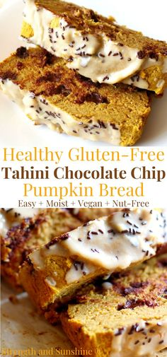 Make classic pumpkin bread even better! This Gluten-Free Tahini Chocolate Chip Pumpkin Bread is decadent enough for dessert and healthy enough for breakfast! It's vegan and nut-free, with no added sugar or oil, loaded with whole grains, pumpkin puree, dark chocolate chips, and sesame tahini! Rich with flavor, subtly sweet, and super moist! Enjoy a warm slice with the melty chocolate inside and nuttiness of a tahini glaze!