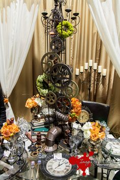 Steampunk tablescape for wedding expo