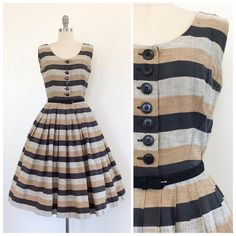 Just listed! 🐺🖤⏳ Adorable Stripe Jonathan Logan 50s Sun Dress - modern size 6 - $144 • cheshirevintageshop.etsy.com •