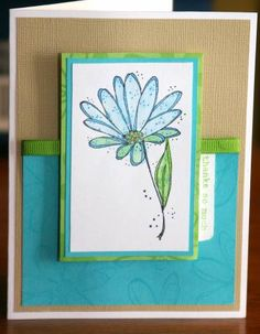 CC153 Tame Turquoise Bloom by mayodino - Cards and Paper Crafts at Splitcoaststampers
