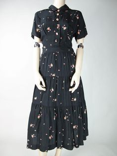Vintage R K Originals Floral Printed Crepe Dress With Ruffled Skirt from thevintagegenie on Ruby Lane