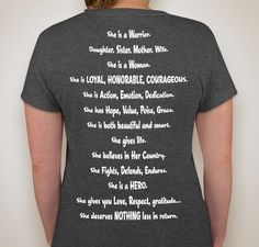 Ms. Veteran America 2015 Kerri T (shirt 1) Fundraiser - unisex shirt design - small - back