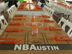 Love this tables cape for a Basketball-themed party! Use electrical tape and tablewrap? Basketball Baby Shower, Basketball Birthday Parties, Sports Birthday, Sports Party, 1st Birthday Parties, 2nd Birthday, Basketball Court, Bar Mitzvah Themes, Bar Mitzvah Party