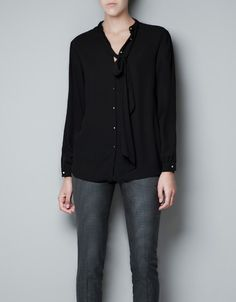 BLOUSE WITH PLEATING ON SHOULDERS AND BOW - Woman - New this week - ZARA United States