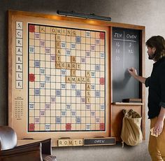 New on Restoration Hardware, and part of their vintage game collection, is this beautifully crafted and original Wall Scrabble version. The dramatically oversized wall-mounted Scrabble game increases the fun factor exponentially, keeping everyones fa Scrabble Board, Scrabble Wall, Scrabble Quilt, Scrabble Crafts, Ideias Diy, Jena, Basement Remodeling, My New Room, Home Organization Tips