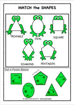 Along with 10 different Individual FROG Shape Posters for your bulletin boards, this Cut & Paste Shape Sorting Math Puzzle Activity will help preschool students, toddlers and kids or homeschoolers to identify and distinguish various basic shapes. Easter Activities For Toddlers, Frog Activities, Preschool Learning Activities, Sorting Activities, Preschool Activities, Homeschool Kindergarten, Shape Activities, Homeschooling Resources, Frog Theme Preschool