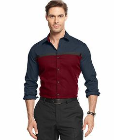 Alfani RED Shirt, Slim-Fit Long-Sleeve Floyd Pieced Colorblocked Shirt - Casual Button-Down Shirts - Men - Macy's