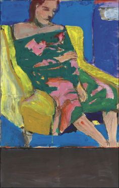 """Richard Diebenkorn. Interesting composition for RD, with the gray block at bottom linking it to his abstractions. He rarely tries to meld the two disparate genres that he works in, and I've always wondered why. Here, it's like he's saying, """"See? My abstractions and figurations are really the same spatial and thematic process!"""" But are they? Does it work here, or look forced? Maybe that's why he rarely did it..."""