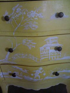 I have always loved blue and white porcelain and other Chinoiserie pieces, but I have never been as in love with using it in my room designs. Hand Painted Furniture, Paint Furniture, Furniture Makeover, Asian Furniture, Painted Chairs, Furniture Design, Amy Howard Paint, Neoclassical Interior, Chinoiserie Chic
