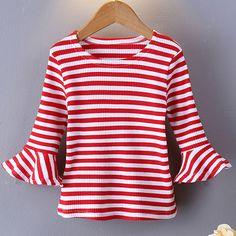 Stripes Trumpet Sleeve Round Neck Blouse  https://www.popreal.com/Products/stripes-trumpet-sleeve-round-neck-blouse-13005.html  #cutetopsforkids  #topsforkids  #kidsgirlstops  #cutetopsforgirls  #popreal