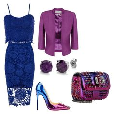"""#blue #purple"" by lelybely-polyvore ❤ liked on Polyvore featuring Dorothy Perkins, Christian Louboutin, Jacques Vert and BERRICLE"