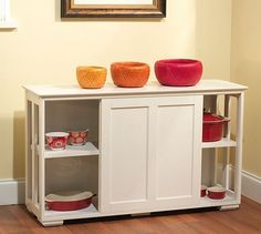 Kitchen Storage CabinetDo you need an extra storage unit that won't take up a lot of floor space? This antique white kitchen storage cabinet provides room for your items and enhances your kitchen decor, as well. Constructed of engineered wood, this unit is strong and durable and meant to last for years to come. It has one adjustable shelf that can hold up to 50 pounds. This cabinet has convenient sliding doors and is stackable, too. A coordinating cabinet with glass sliding doors (see last…