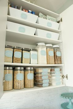 Maximize cabinet space and label your spices to stay organized