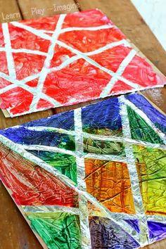Tape resist art on a foil canvas - art for kids