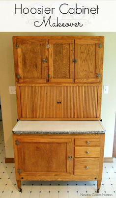 Hoosier Cabinet Makeover from NewtonCustomInteriors.com.  See before and after pictures of this hoosier cabinet makeover.