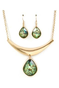 Josephine Teardrop Necklace in Abalone Vitrail on Emma Stine Limited