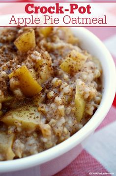 CrockPot Apple Pie Oatmeal Wake up to the aroma of this easy CrockPot Apple Pie Oatmeal recipe that has been cooking overnight in your slow cooker Gluten Free High Fiber. The Oatmeal, Apple Pie Oatmeal, Steel Cut Oatmeal, Pumpkin Oatmeal, Oatmeal Recipes, Apple Recipes, Oatmeal In Crockpot, Overnight Crockpot Breakfast, Breakfast Crockpot Recipes