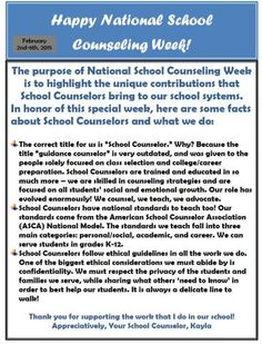 National School Counseling Week 2015 National School Counseling Week Counselor ideas/tips National School Counseling Week Flyer for staff! Related posts:Thinking Like A Social Worker to Pass Your LCSW - Education -. School Counselor Office, Middle School Counseling, Elementary School Counselor, Elementary Schools, Primary Education, High Schools, Facts About School, National School Counseling Week, School Leadership
