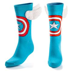 Captain America Socks...I'm such a nerd...I'd wear these with the utmost pride, wings and all.