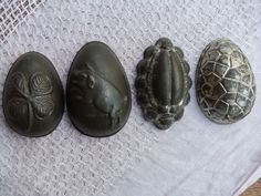 3 ANTIQUE EASTER EGGS CHOCOLATE MOLDS/ 1 CHAFER MOLD#7204K