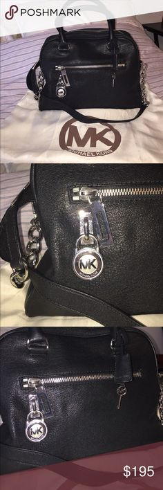 """Michael Kors handbag Michael Kors black bowler handbag- like new!  Barely ever used- looks brand new with no stains/marks.  Black with silver hardware.  Comes with removable shoulder strap and dust bag. Size 13""""L 9""""H 6""""D. Michael Kors Bags Satchels"""