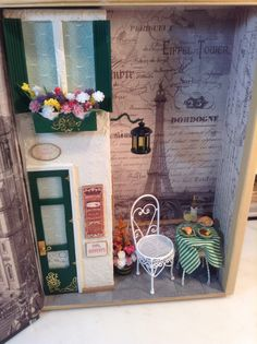 The inside of the just finished Paris Bistro Cafe book box done as a commission. I hope she will like it! 06/01/2014