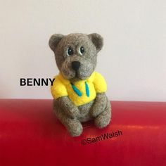 Benny the needle felted bear. Felted little bear. Cute bear. | Etsy Needle Felted Animals, Felt Animals, Needle Felting, Baby Toothbrush, Bear Felt, Unusual Animals, Cute Bears, Unusual Gifts, Soft Sculpture