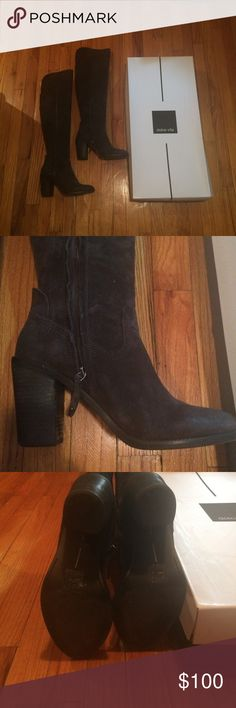 Dolce Vita Over The Knee Boots Great dark gray over the knee boots. Inside zipper. Only worn a couple times in great condition. 3 3/4in heel. Dolce Vita Shoes Over the Knee Boots