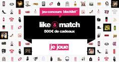 Gagne 500€ de cadeaux avec #blacklistme ! #JeuLike&Match #Jeu #concours @blcklst_me https://blacklist.me/fr/jeu-concours-like-match?inviter=6498&source=twitter&campaign=likematch2015