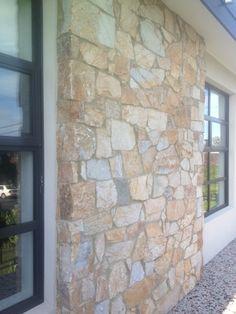 Example of Eco Outdoor random ashlar coolum stone cladding Stone Cladding Exterior, Exterior Siding Colors, Stone Facade, Stone Front House, House Front, Stone Feature Wall, Feature Walls, Outdoor Stone, Outdoor Areas