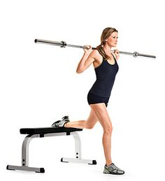 #MoveOfTheDay: Barbell Bulgarian Split Squat. Works #calves, #core #glutes #hamstrings and #quads. | Fitbie.com