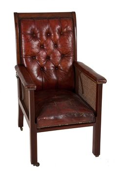 George III Mahogany Bergere Reclining Library Chair