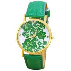 Sanwood Damen Lace Gedruckt Uhr Armbanduhr Watch (Dunkelgrün) - http://uhr.haus/sanwood/dunkelgruen-sanwood-damen-lace-gedruckt-uhr