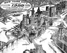 """'At the turn of the 20th century, one of """"The World""""'s most popular illustrators...speculated on the future New York in 1999 in a lavish two-page spread that pictured Manhattan solidly packed with skyscrapers, including behemoth towers at least 100-stories tall, sporting landing platforms of airships. At a time when there were no controls on high-rise development, [the] illustration exaggerated present trends and technologies and reflected both the fascination and fears of unconstrained…"""