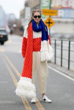Chaira rocked an oversized scarf at NYFW.