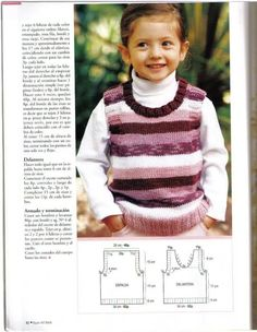 Chaleco niña de 6 años, pero es talla 10-12... o Baby Knitting Patterns, Crochet For Kids, Diy And Crafts, Turtle Neck, Album, Sweaters, Pants, Cabo, Fashion