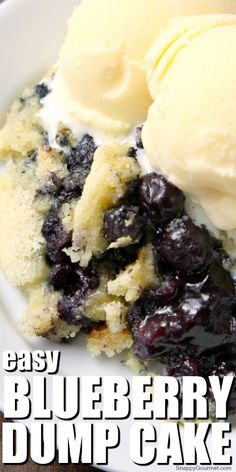The BEST Blueberry Dump Cake recipe! How to make a dump cake with only 7 ingredients including fresh or frozen blueberries, a cake mix, buttermilk, and a little orange to make the best dump cake! Like a dump cake cobbler but so EASY! Dump Cake Recipes, Fruit Recipes, Sweet Recipes, Dessert Recipes, Cooking Recipes, Blueberry Dump Cakes, Blueberry Desserts, How Sweet Eats, Easy Desserts