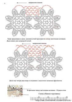 Knitted Flowers, Crochet Flower Patterns, Crochet Motif, Crochet Lace, Crochet Collar, Crochet Shirt, Thread Crochet, Crochet Stitches, Hippie Crochet