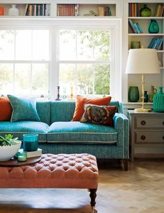 Living room with large window and blue sofa. Note: the beautiful pots on the shelves. Family Room Design, Interior Design Living Room, Living Room Orange, Country House Interior, Interiors Magazine, Modern Room, Diy Bedroom Decor, Home Decor, Living Spaces