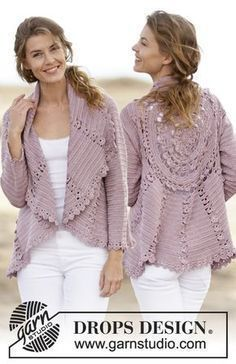 "Roséalie - Crochet DROPS jacket worked in a circle with lace pattern in ""Cotton Viscose"". Size: S - XXXL. - Free pattern by DROPS Design"