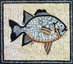 This marble mosaic represents a sharp and well defined shape of a fish that is laid on a beige background. is composed of natural stones and tiles. It could be used in bath decor or in pool mosaic. Mosaic Designs, Mosaic Patterns, Pattern Art, Wood Mosaic, Marble Mosaic, Mosaic Art Projects, Mosaic Portrait, Cute Fish, Mosaic Pieces