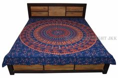 Indian Bed Cover Floral Mandala Printed Double Bed Sheet Hanging Wall IWUS BD28 #Handmade