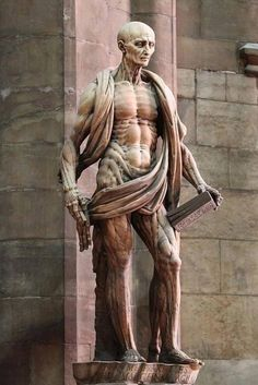 St Bartholomew holding his own skin after being flayed alive. By Marco d'Agrate, 1562 (Duomo cathedral, Milan-Italy). http://t.co/lYSxYTSo6D