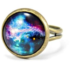 Galaxy Ring, Geek Ring, Geeky Birthday Gift For Her, Bronze Ring,... ($10) ❤ liked on Polyvore featuring jewelry, rings, bronze jewelry, adjustable rings, galaxy jewelry, galaxy ring and cosmic jewelry